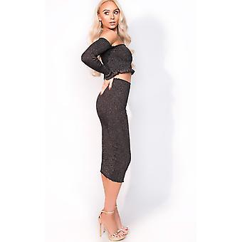 IKRUSH Womens Stella Luxe Sparkle Bandage Midi Skirt