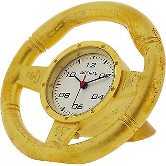 Gift Time Products Steering Wheel Miniature Clock - Gold