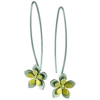 Ti2 titan dubbel fem kronblad blomma droppe örhängen - gul