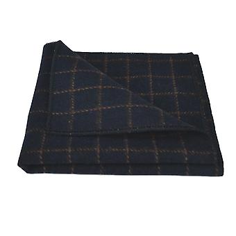 Luxury Oxford Blue Tattersall Check Tweed Pocket Square, Handkerchief