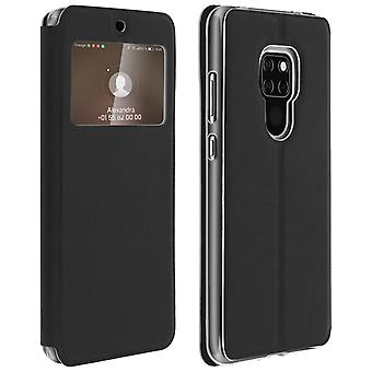 Window flip case, flip wallet case with stand for Huawei Mate 20 - Black