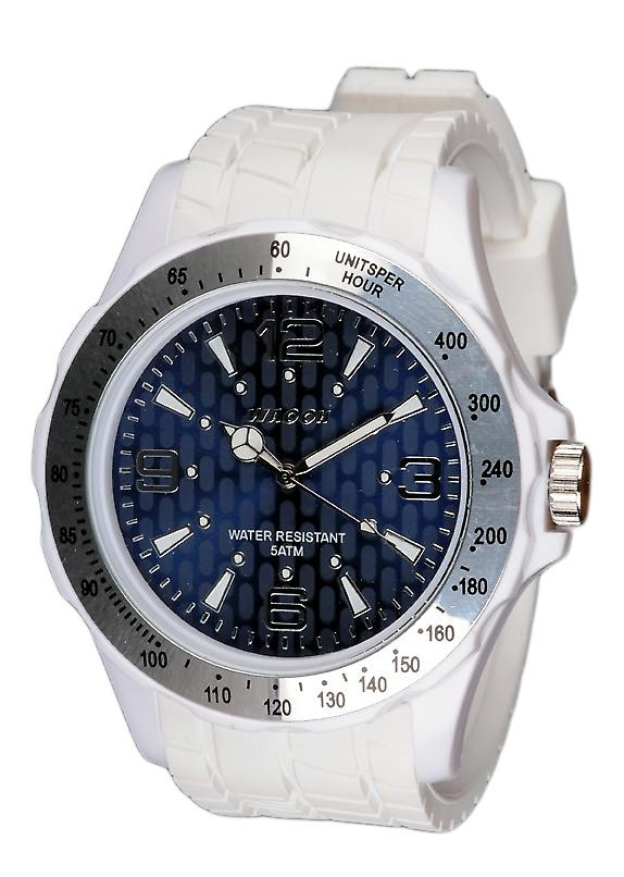 Waooh - White Silicone Watch With A Blue Dial Waooh Gpm48 Inspired From Monaco Grand Prix