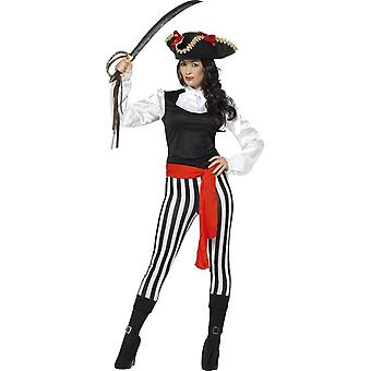 Pirate Lady Costume, Black, with Top, Trousers, Attached Boot Covers, Neck Ruffle & Belt