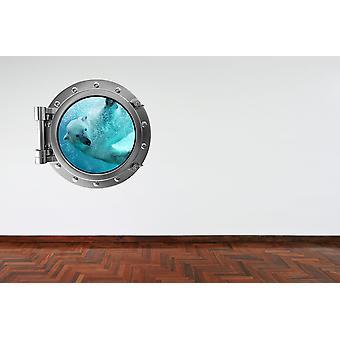 Full Colour Polar Bear Porthole V2 Wall Sticker