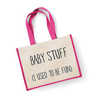 Large Jute Bag Baby Stuff I Used To Be Fun Pink
