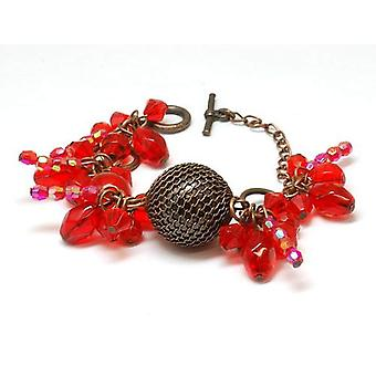 The Olivia Collection Bronzetone & Red Ball Bead Cluster 7