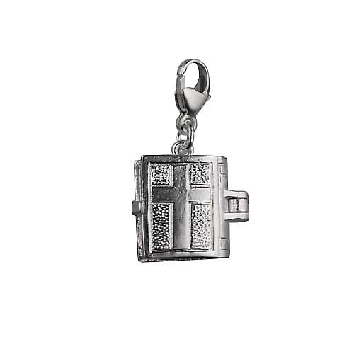 Silver 12x11mm moveable Bible Charm on a lobster trigger inside the Hail Mary prayer
