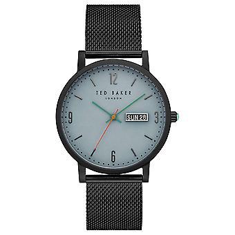 テッド ベイカー グラント ライト ブルー ダイヤル黒メッシュ ブレスレット メンズ腕時計 TE15196014