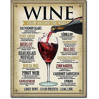 Wine Around The World metal sign  (de)