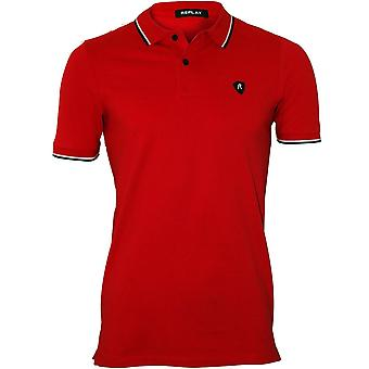 Replay Contrast Trim Pique Polo Shirt, Vintage Red