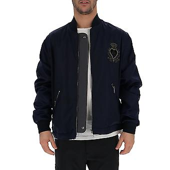 Dolce E Gabbana Blue Polyester Outerwear Jacket