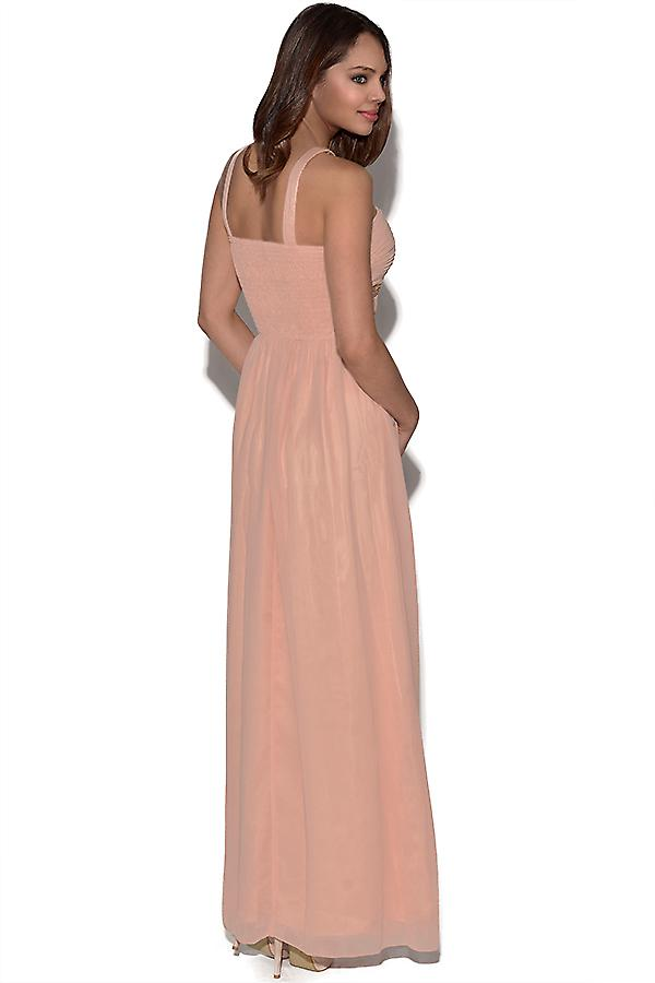 Peach Embellished Maxi Dress
