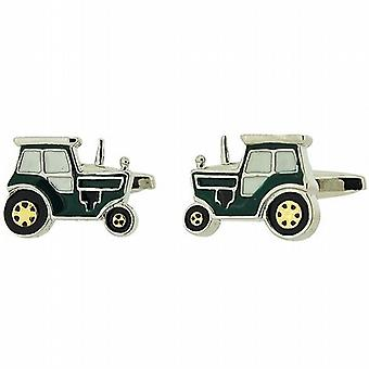 Artamis Gents Rhodium Plated Enamel Green Tractor Cufflinks In Presentation Box