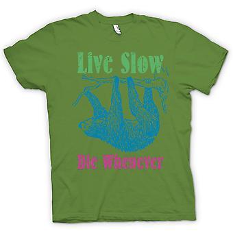 Heren T-shirt - leven langzaam sterven wanneer - Cool luiaard