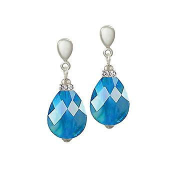 Eternal Collection Infinity Aqua Blue AB Marbled Glass Silver Tone Drop Pierced Earrings