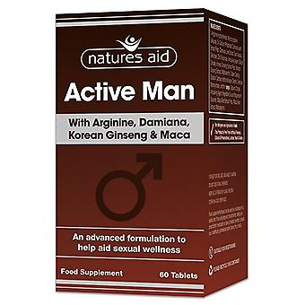 Nature's Aid Active Man with Arginine; Korean Ginseng and Maca Tablets 60