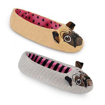 Women's/Ladies Footwear Pug Ballet Slippers With Pin Dot Sole, Various Colours & Sizes