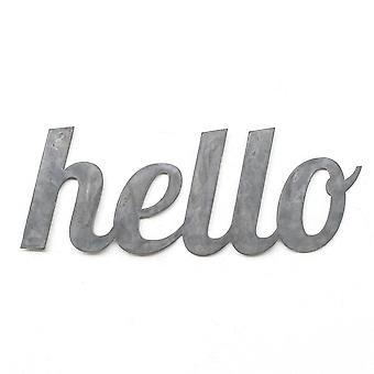 Hello - metal cut sign 18x7in