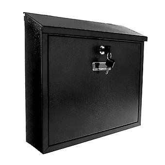 Savisto Lockable Waterproof Wall Mounted Steel Mail Box in Black