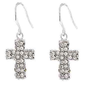Crystal Cross Drop Oorbellen (Zilveren Tone)