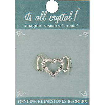 Genuine Rhinestone Buckle 30mm-Silver - Heart 4147