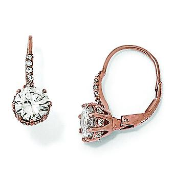 Sterling zilveren CZ Rose vergulde Dangle Oorbellen