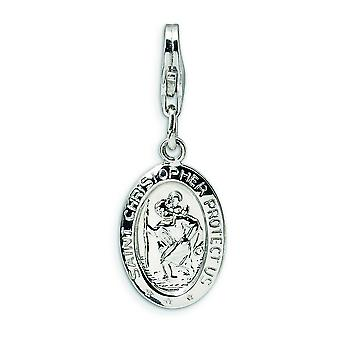 Sterling Silver Saint Christopher Medal With Lobster Clasp Charm - Measures 28x10mm
