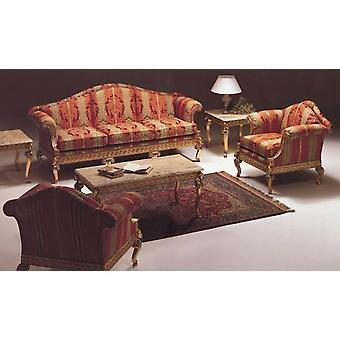 baroque salon set suite sofa carved 2 seater 3 seater armchair carved table antique style Vp0820