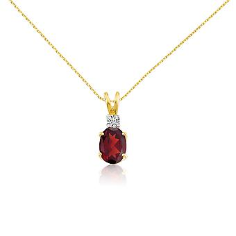 14k Yellow Oval Garnet and Diamond Pendant with 18