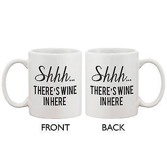 Divertida taza de cerámica-Shhh... Hay vino de aquí 11oz taza taza de café cerámica