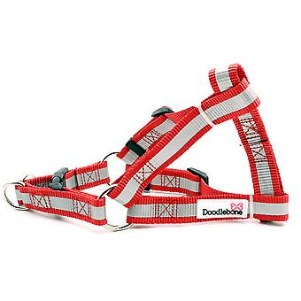 Doodlebone Reflective Bold Tape Harness Red Medium 20mm X40-65cm