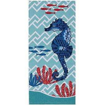 Blue Print Seahorse Coastal 28 Inch Kitchen Dish Tea Towel Cotton
