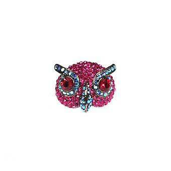 W.A.T mousserend roze Swarovski Crystal Owl Ring