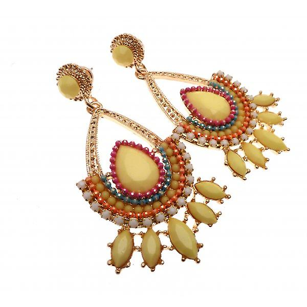 W.A.T Gold Style Yellow Beaded Earrings