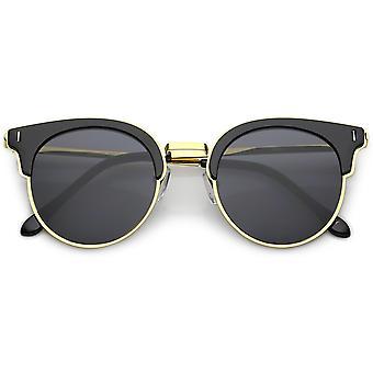 Semi-Rimless Plastic Cat Eye Sunglasses Slim Metal Arms Round Flat Lens 48mm