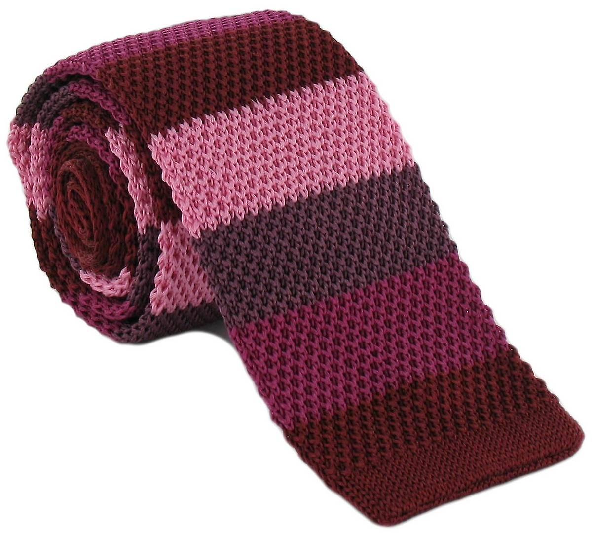 Michelsons of London Striped Skinny Silk Knitted Tie - Red