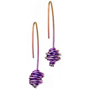 Ti2 Titanium Chaos Hook Drop Earrings - Purple