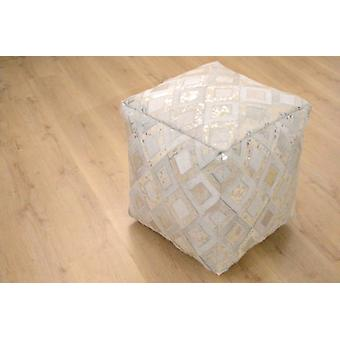 Sitzpouf leather high quality robust grey Silber stool seat cube stool