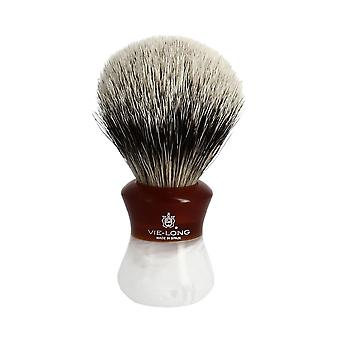 Vie-Long Silvertip Badger Brush and Stand Deep Red and White Marble Normal
