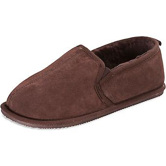 Nordvek Mens Genuine Sheepskin Full Back Slippers Lightweight Sole 405-100