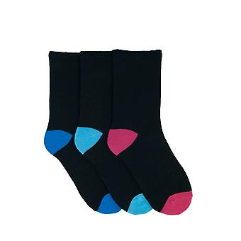 Womens/Ladies Plain Socks With Brightly Coloured Heel And Toe (Pack Of 3)