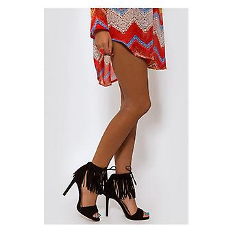 The Fashion Bible Black Suede Fringe Heels