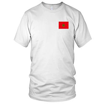 Land Marokko Nationalflagge - Stickerei Logo - 100 % Baumwolle T-Shirt Damen T Shirt
