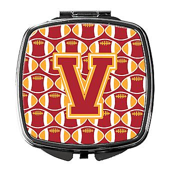 Letter V Football Cardinal and Gold Compact Mirror