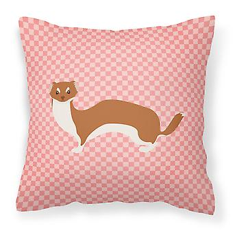 Carolines Treasures  BB7870PW1818 Weasel Pink Check Fabric Decorative Pillow