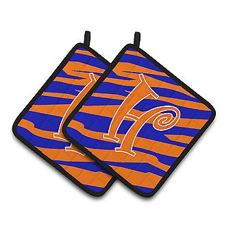 Monogram Initial H Tiger Stripe Blue and Orange Pair of Pot Holders