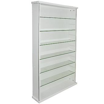 Exhibit - Solid Wood 6 Shelf Glass Wall Display Cabinet - White