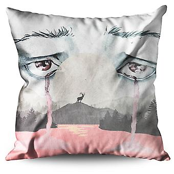 Cry Scary Creepy Horror Linen Cushion Cry Scary Creepy Horror | Wellcoda