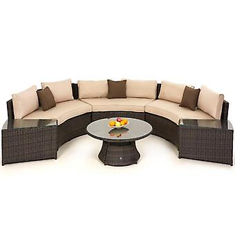 Maze Rattan Half Moon Curved Garden Sofa Set