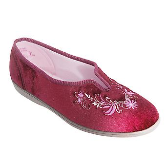 Sleepers Womens/Ladies Dolley V Throat Embroidered Slippers